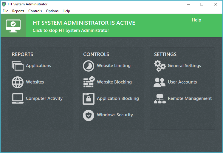 HT System Administrator Main Window