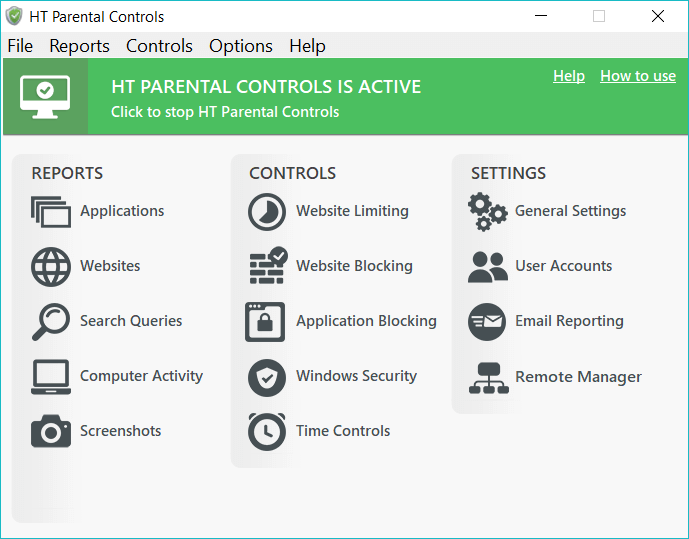 HT Parental Controls Screen shot