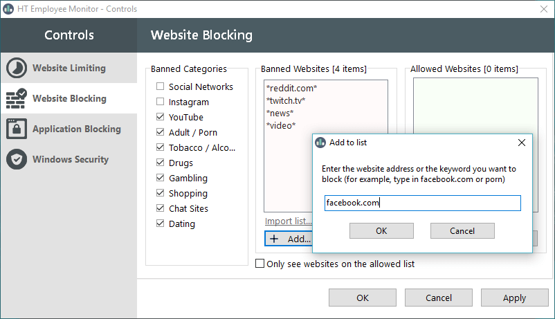 block websites