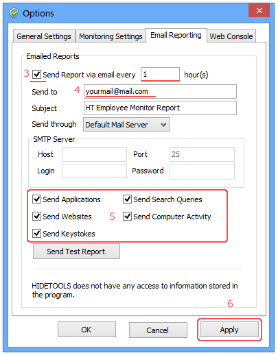 enable email reporting